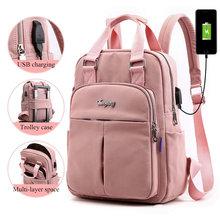 Dziewczyny plecaki na laptopa różowy mężczyzn USB ładowania plecak kobiet podróży plecak torby szkolne dla chłopców nastoletnich dziewcząt mochila escolar 2019 tanie tanio Oyixinger Nylon zipper W316-XY-Y-6059 Stałe 28cm 12cm 36cm 0 6kg Backpacks Women Travel Backpack Bagpack Women School Bag