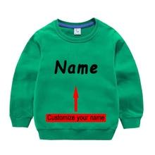 Stylish boy T Shirt Pure Cotton Retro Tshirt kids summer Tshirt baby boys Sweatshirt Hoodie with your own name