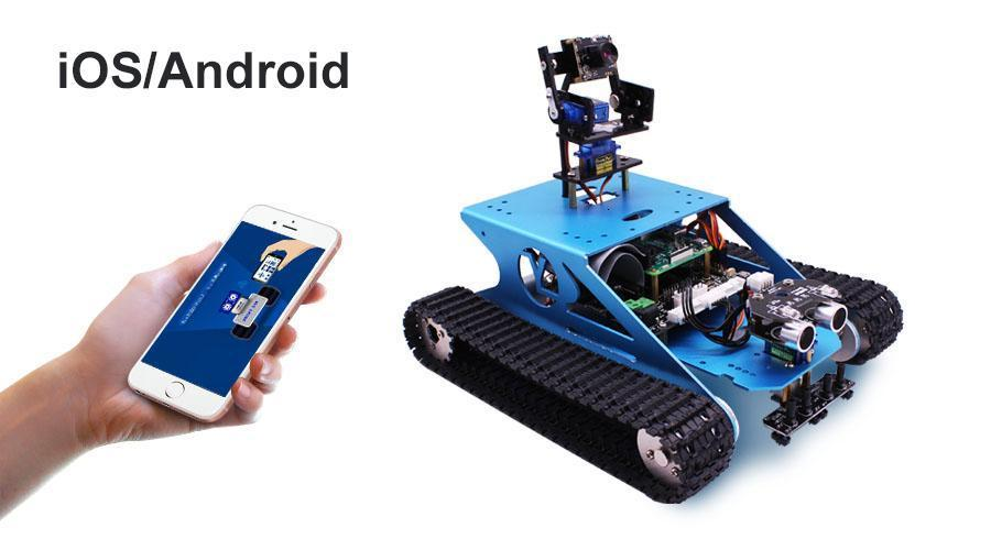 New Tracked Tank Smart Robotic Kit Bluetooth Video Programming Electronic Toy DIY Self-Balance Car Robot Kit With Raspberry PI