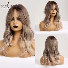 Perruque synthétique ombrée grise moyenne pour femmes, coiffure Afro Body ondulée avec frange, coiffure Cosplay pour fête, résistante à la chaleur