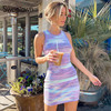Sweetown Tie Dye Print Knitted Beach Strap Dresses Women Y2K Club Outfits Off Shoulder Slim Sexy Mini Bodycon Dress Summer 3