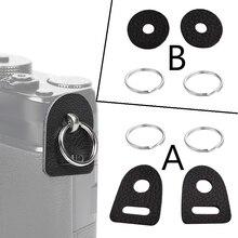 10 100 זוגות עור מגן כיסוי מצלמה רצועת מעגל פיצול טבעת וו עבור Fujifilm Canon Nikon Sony אולימפוס Pentax DSLR מצלמה