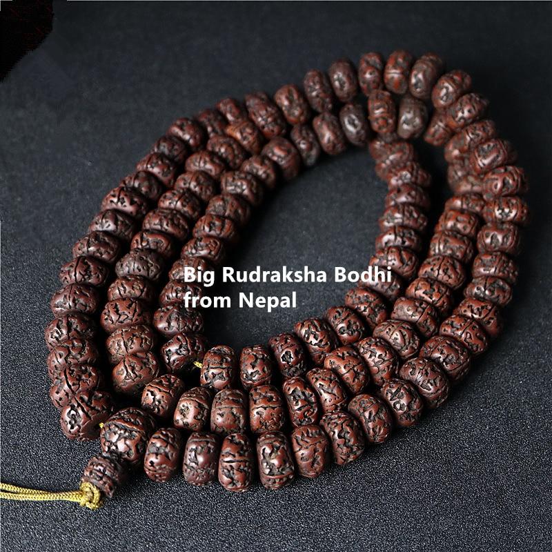 Tibetan Buddhist Mala 108 Big Oiled Rudraksha Bodhi Beads Mala 16-18mm for Man BRO575-1