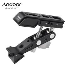 Andoer حامل تثبيت للتصوير الفوتوغرافي شديد التحمل ، مع برغي 1/4 بوصة ، وخيط 3/8 بوصة ، وميكروفون بإضاءة LED لكاميرا DSLR