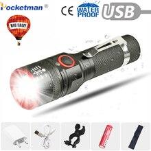 6000 Lumens Flashlight USB Rechargeable T6 LED Flashlight Torch Lamp Lantern 18650 Waterproof Bike LED Holding Clip Flash Light