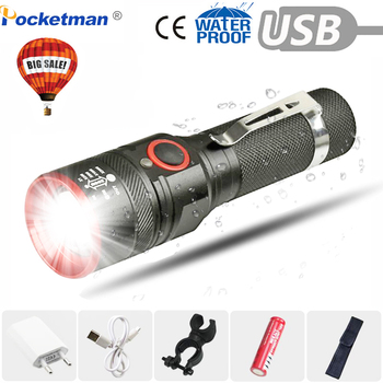 6000 Lumens Flashlight USB Rechargeable T6 LED Flashlight Torch Lamp Lantern 18650 Waterproof Bike LED Holding Clip Flash Light 8000lm led xml t6 zoom flashlight torch zoom able bike lamp light lamp torches lantern 18650 battery charger bike clip z50