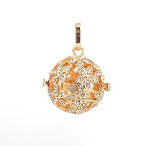 DoreenBeads Copper Pendants Mexican Angel Caller Harmony Ball Wish Box Locket Tree Silver Color Clear Rhinestone Can Open,1 PC(China)