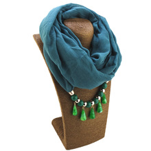 2019 best selling cotton Chlorophyll scarf acrylic drp pendant high quality jewelry solid color