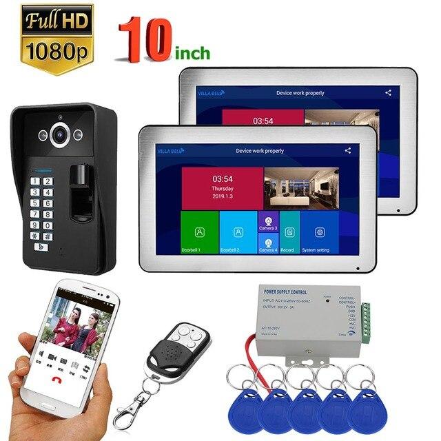 10 inch 1/2/3 Monitors Wifi Wireless Fingerprint RFID Video Door Phone Doorbell Intercom System with Wired 1080P camera