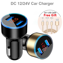 2USB ports QC 3.0 Car Charger Quick Charge Auto USB Adapter with Battery voltage monitor free gift 3in1 cable