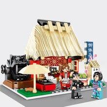 2020 Città Creatore Mini Street View Barbecue Negozio Negozio di Sushi Ghiaccio Tritato Negozio Ramen Museum Building Blocks Giocattoli Dei Mattoni Giocattoli