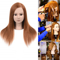 100% real human hair female styling mannequin training head dummy doll manikin head with 16 inch long human hair