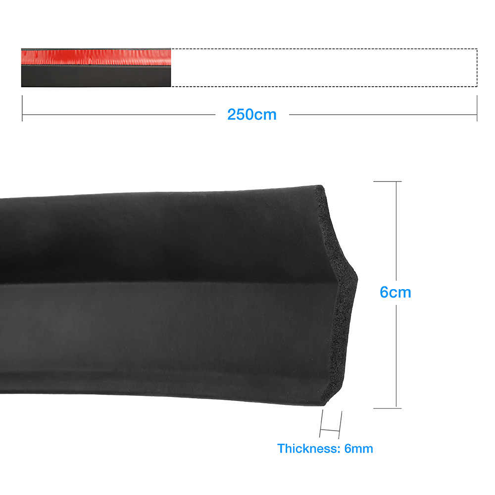 2,5 m Protector de coche parachoques delantero divisor de labios Kit de carrocería parachoques de Valance mentón de goma para coche tira 60mm de ancho