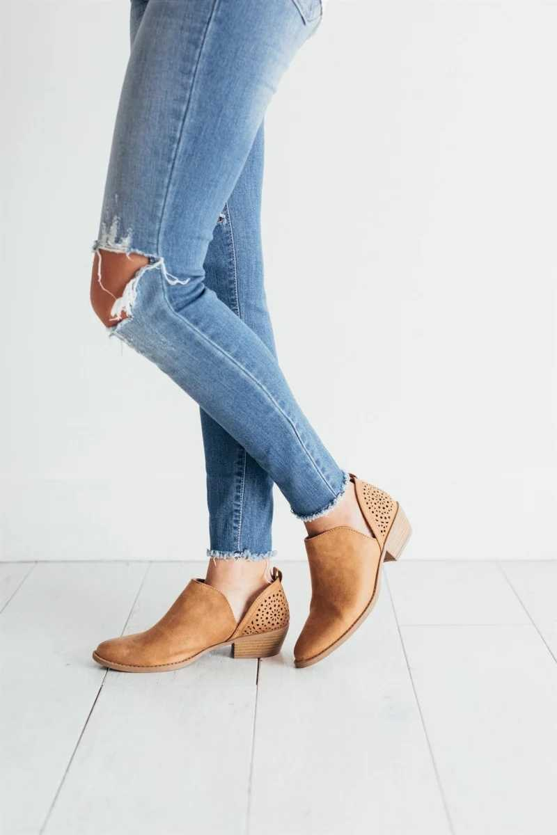 STAN SHARK 2019 รองเท้าผู้หญิงใหม่ Retro รองเท้ารองเท้าส้นสูงหญิงลื่นบนรองเท้าส้นสูงกลางลำลอง Botas Mujer Booties Feminina ขนาด 35-43