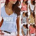 2021 trend Frauen Sommer Tops Casual V-ausschnitt Kurzarm Grund Tshirts Weibliche Brief Druck Taste T T Hemd Roupas femininal