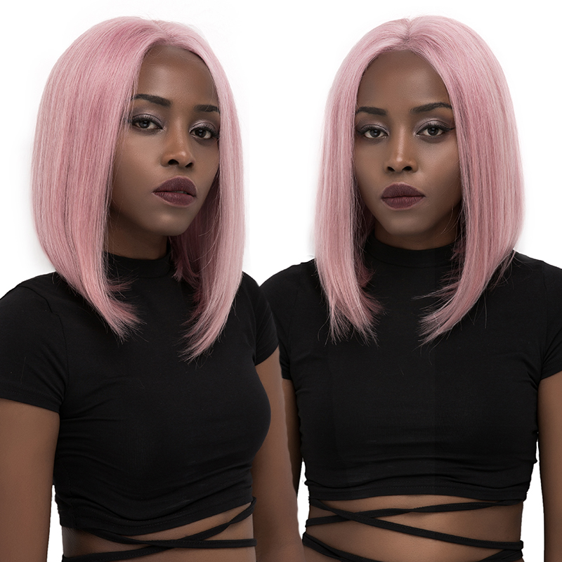 13x4 Lace Front Human Hair Wigs Ombre Purple Orange Pink Short Bob Lace Front Wigs Brazilian Straight Remy Lace Front Hair Wig