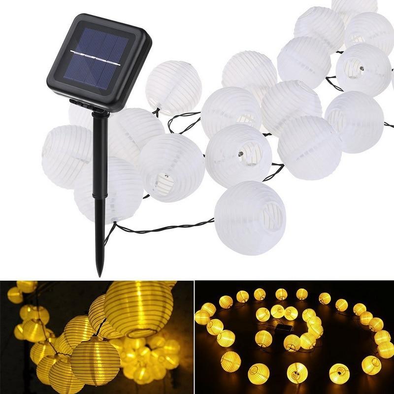 10/20/30LED 2/4/6.5M Solar Lantern Ball String Lights Chinese Paper Lantern Wedding Party Decor Gift DIY Lampion Hanging Lantern