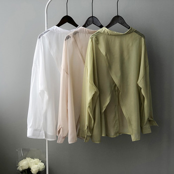 HXJJP Women's Summer Chiffon Blouse 2020 New Korean Version Western Back Slit Shirt Long Sleeves Irregular Tops Female grey self tie design bell sleeves chiffon blouse