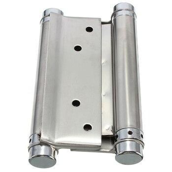 1 пара кафе салон двери качели самозакрывающиеся двойного действия пружинный шарнир серебро, 3 дюйма/76 мм