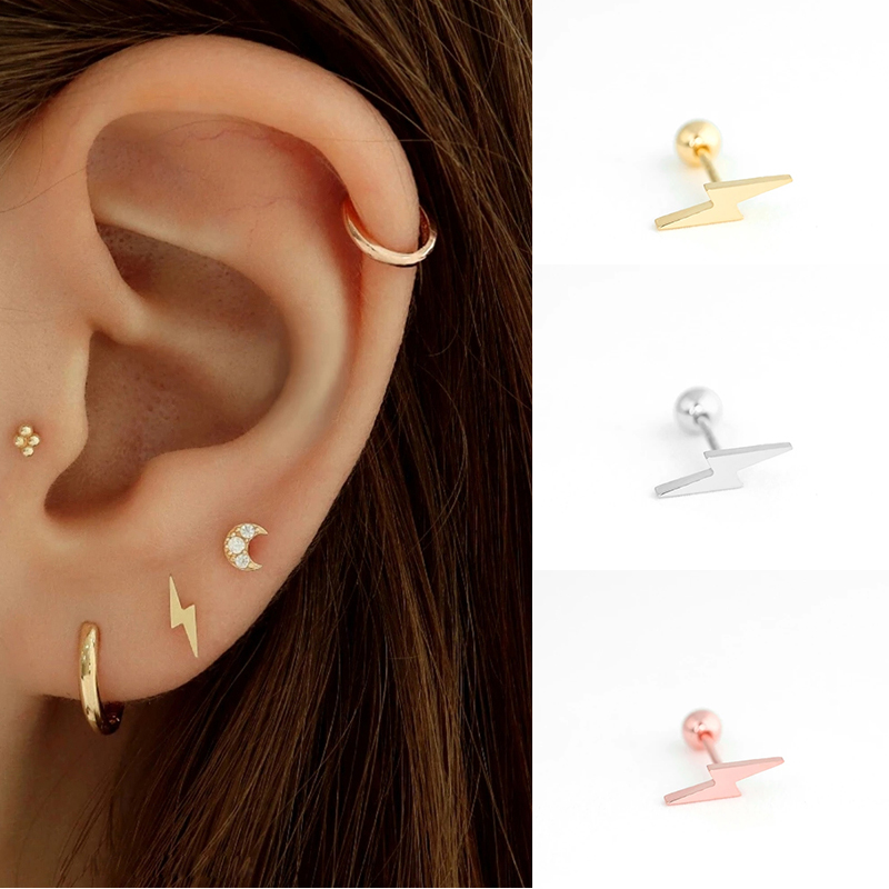 Ling Studs Earrings Hypoallergenic Cartilage Ear Piercing Five-Pointed Star S925 Sterling Silver Earrings Long Earrings Earrings Female