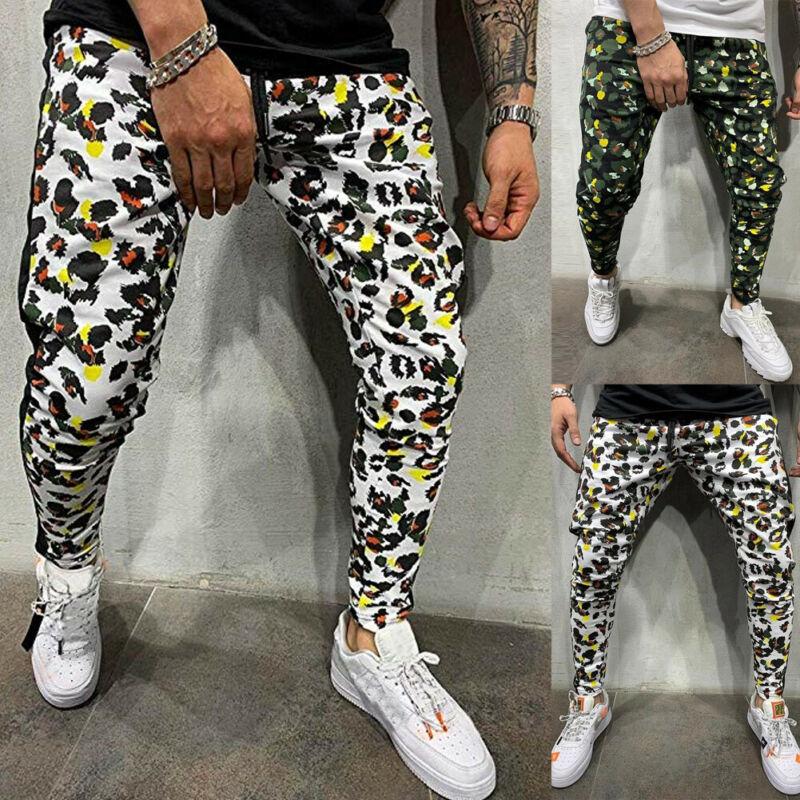 2020 Elegant Men Green/White Print Sport Pants Long Pencil Trousers Tracksuit Gym Casual Workout Joggers Sweatpants