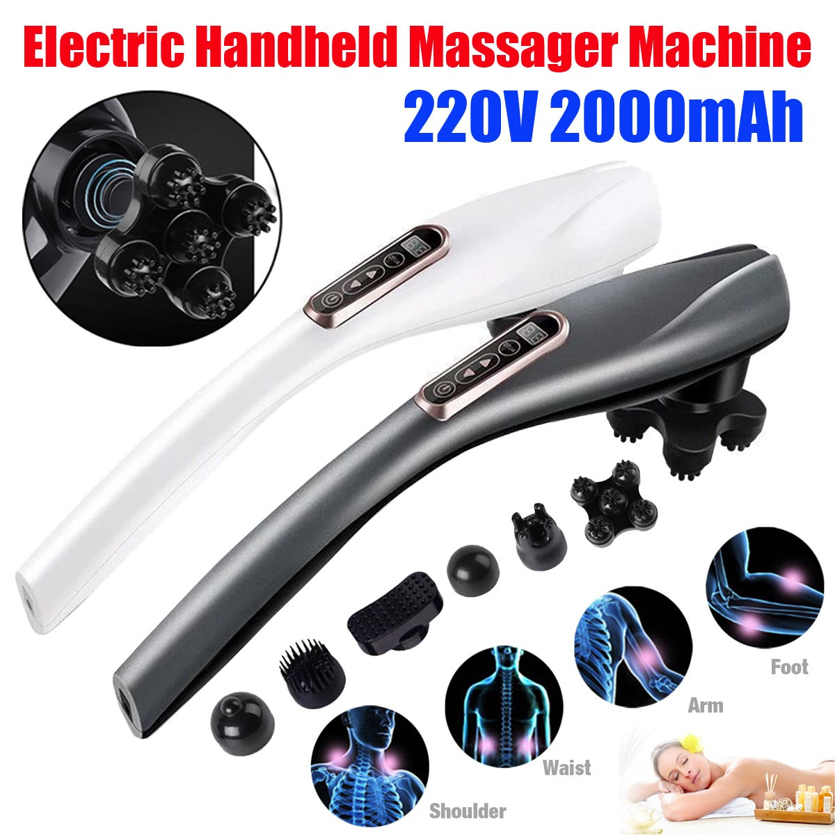 Electric Handheld Cordless Massage Full Body Neck Vertebra Back Muscle Relax Vibrating Tissue Massage Health Care With 6 Heads