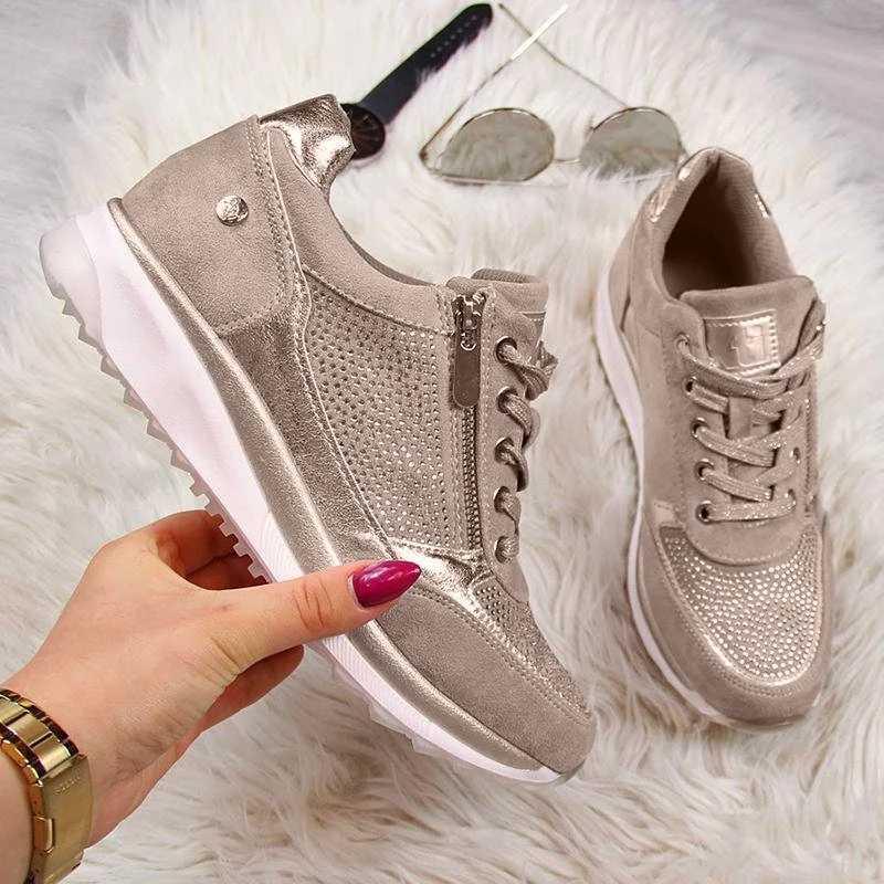 Jodimitty Giày Người Phụ Nữ Giày Thể Thao Dây Kéo Vàng Nền Tảng Huấn Luyện Viên Nữ Cột Dây Tenis Feminino Zapatos De Mujer Giày