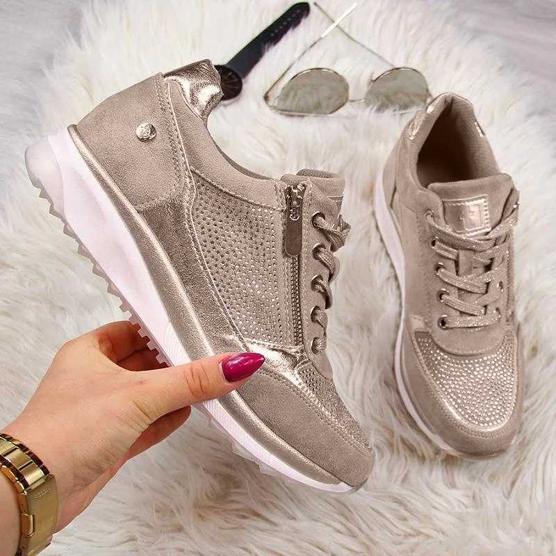 Jodimitty 靴女性スニーカーゴールドジッパープラットフォームトレーナー女性カジュアル tenis feminino zapatos デ mujer スニーカー