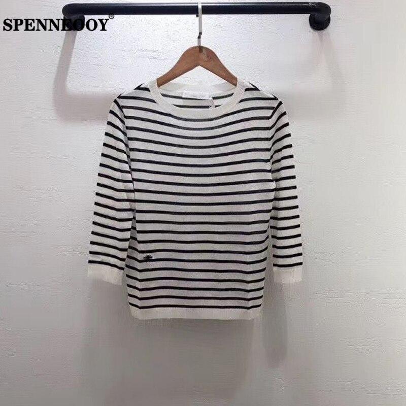 SPENNEOOY дизайнерский подиумный женский весенний вязаный пуловер с рукавом 3/4, полосатый вязаный модный уличный свитер