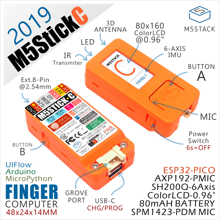 New Arrival ! 2019 M5StickC ESP32 PICO Mini IoT Development Board Finger Computer With Color LCD