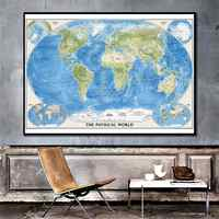 The World Physical Map HD Spray Painting Canvas Home Wall Decor Crafts 150x225cm For Office And Study Room