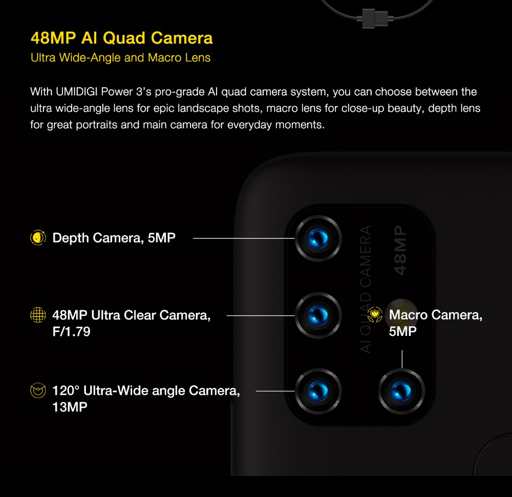 "H8a81188c49dd443ba5d0c5ef94d190b5I UMIDIGI Power 3 Android 10 48MP Quad AI Camera 6150mAh 6.53"" FHD+ 4GB 64GB Helio P60 Global Version Smartphone NFC Pre-sale"