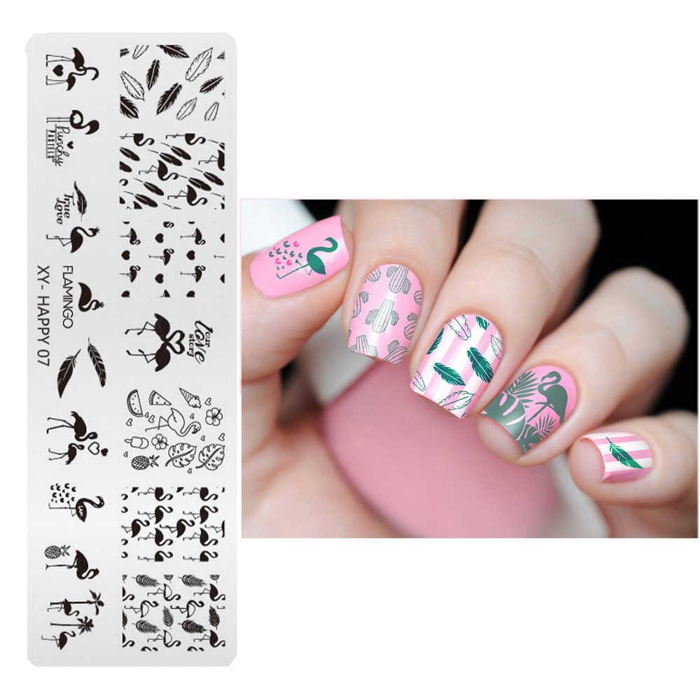 1pcs Unicorn/Flamingo Modelli Unghie artistiche Timbro Geometrica Immagini Del Chiodo Che Timbra Piatto della mascherina di DIY Del Chiodo di Disegni Stencil XY-H1-12