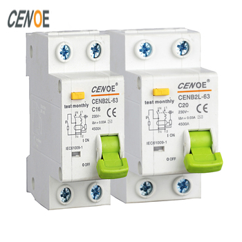 most ideal leakage protection mini elcb earth leakage circuit breaker A grade residual breaker DPNL1P+N 230V 16A 32A 63A 50Hz