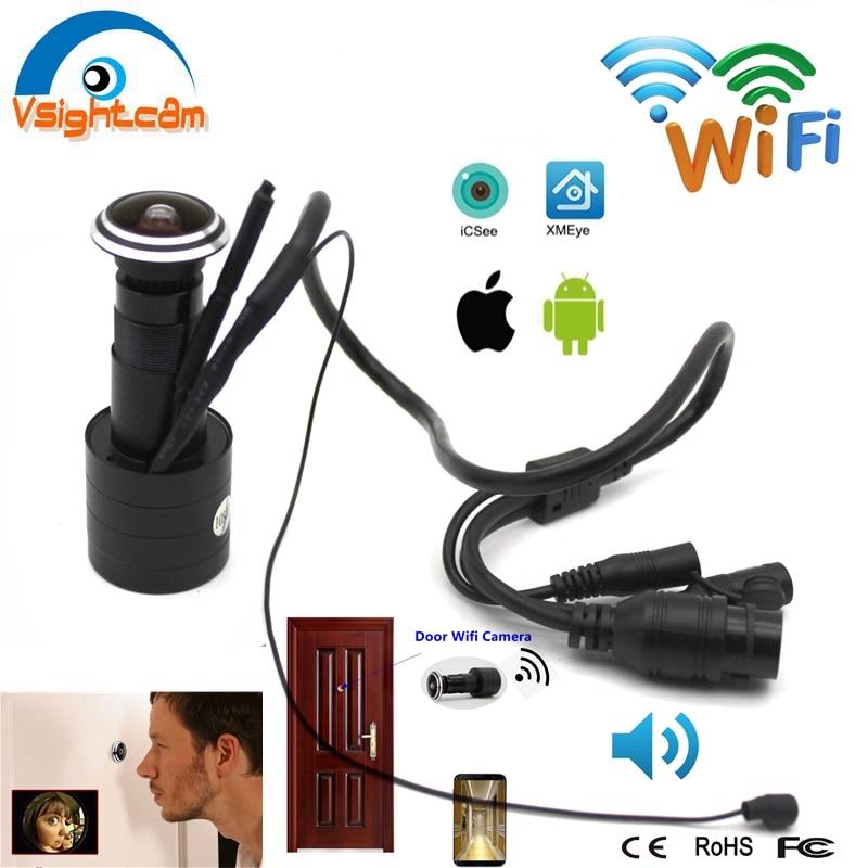 Безопасности 1080P экшн-камера с Wi-Fi дверной глазок отверстие IP Камера дополнительный Широкий формат объектив «рыбий глаз» глазок CCTV сетевой ...
