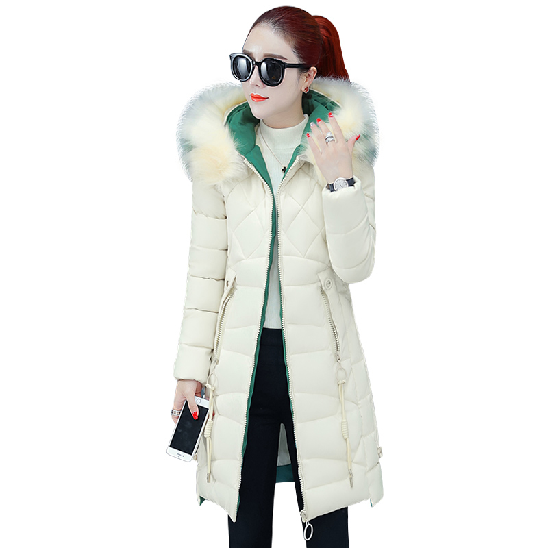 Winter   Parkas   2019 winter women's jacket fashion hooded fur collar slim thick long cotton coats winter -25 degrees snow jackets