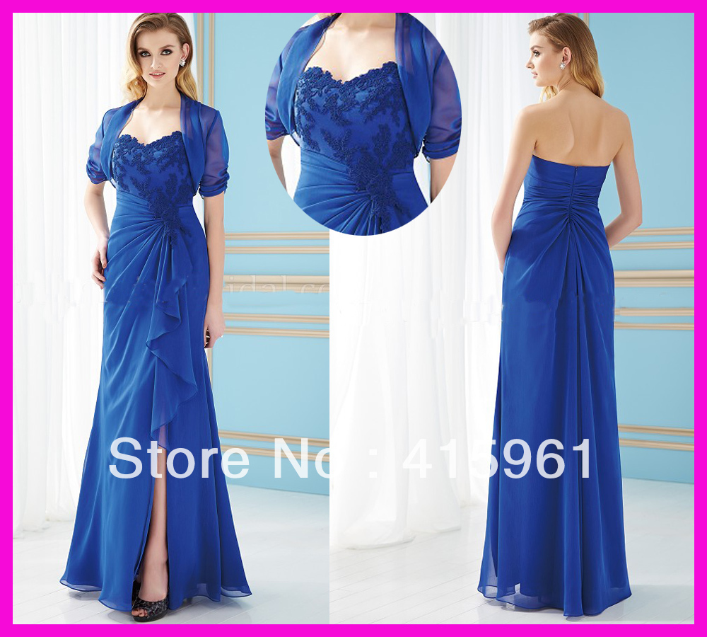 Vestido De Madrinha Longo 2019 Vintage Royal Blue Lace Side Slit Chiffon Mother Of The Bride Dresses For Weddings With Jacket
