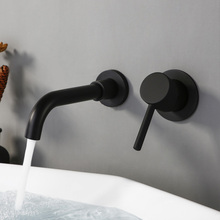 Wall Mount Alba Matt Black In-Wall Basin Bathroom Bath Sink Faucet High Quality With 150/210/260 mm Spout Mixer Tap Set Blanoir high quality round 3 hole wall sink basin mixer tap wels bathroom spout faucet with double lever