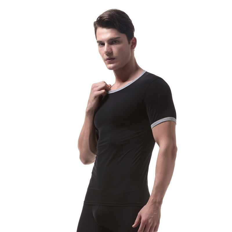 Men Ultrathin T-shirts Short Sleeves Round Neck Smooth Seamless Male Tops  JS26