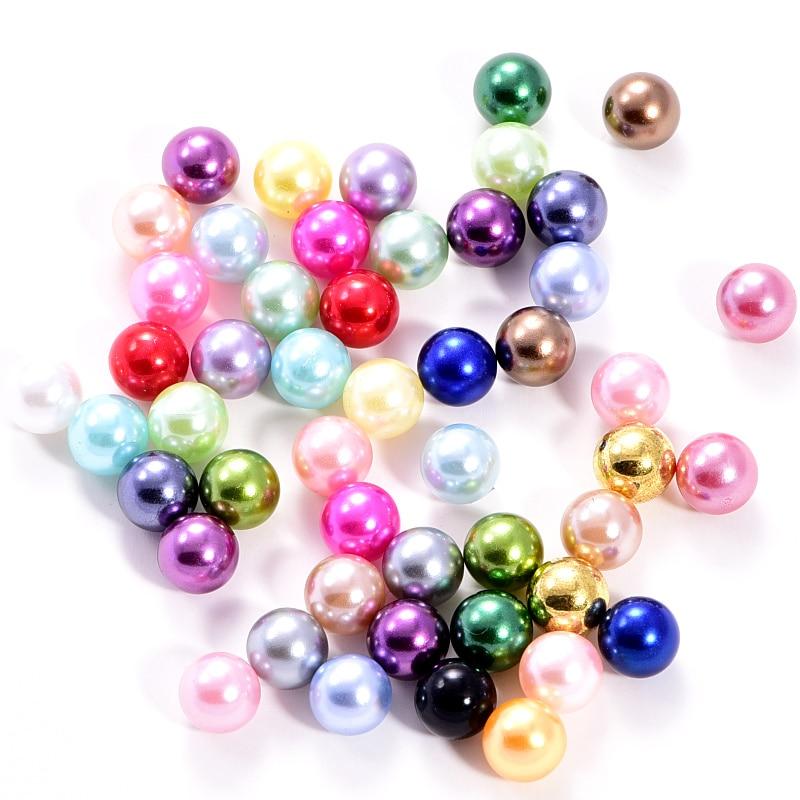 Perles rondes en résine, 8mm, 34 couleurs, bijoux à breloques Imitation de perles, sans trous, bricolage artisanale scrapbooking, B1285