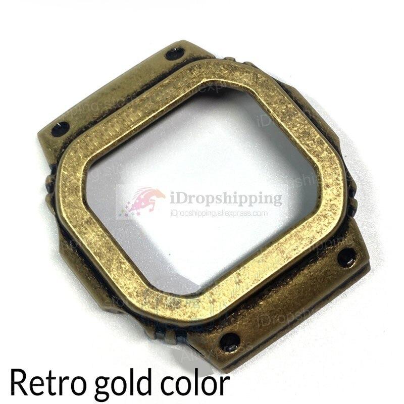Rétro 5600 métal lunette couverture Bracelet de montre GWM5610 DW5600 montre Bracelet et boîtier lunette en acier inoxydable Bracelet en acier cadre de ceinture + outils-in Bracelets from Montres    2