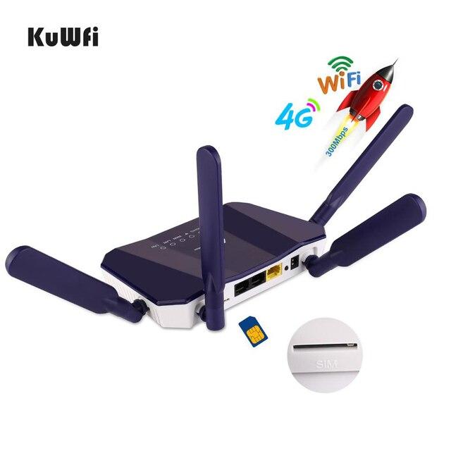 KuWFi 4G LTE CPE Router WiFi 300Mbp Wireless CPE Router Mobile di WiFi con Slot Per SIM Card con Una buona Copertura per PC/Telefono/TV BOX