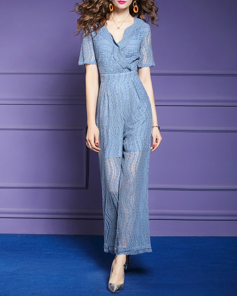 Women Elegant Short Sleeve Jumpsuit Hollow Out V-Neck Office Lady Lace Transparent Long Rompers