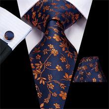 Hi-Tie роскошный Шелковый мужской галстук платок с узором пейсли запонки набор галстуков для мужчин Зеленый Золотой Красный Модный классический вечерние галстук для свадьбы