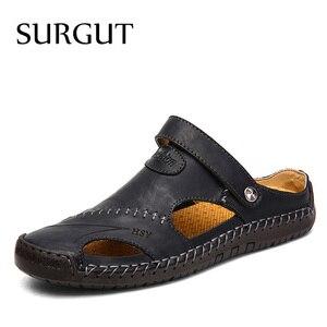 Image 2 - SURGUT Summer Sandals Men Leather Classic Roman Sandals 2021 Slipper Outdoor Sneaker Beach Rubber Flip Flops Men Water Trekking