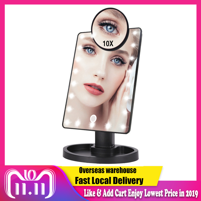 22 LED Lights Touch Screen Makeup Mirror 1X 10X Magnifying Mirrors Vanity 16 Lights Bright Adjustable USB Or Batteries Use