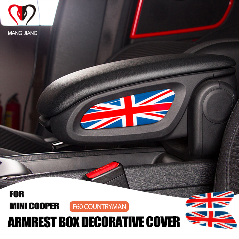 2 pcs New Car Interior Stickers Armrest box Cover Sticker Decal Decorative Case For Mini Cooper F60 countryman F 60 Car-styling