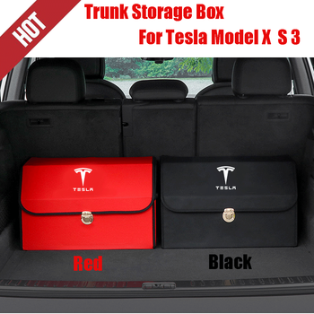 2 Colors runk Organizer PU Leather Foldable Cargo Storage Box Red Black For Tesla 3 X S