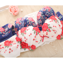 2019 European sexy underwear embroidery flower mesh deep V on the girl lady bra set    2044