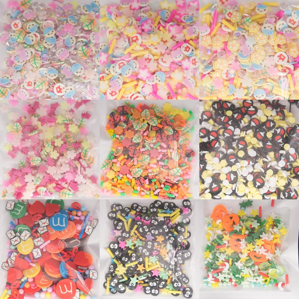 Смешайте с цветным принтом с рисунком вишни для детей от Star полимерные глиняные ломтики посыпка для шлама заполнения эпоксидный чехол для т...